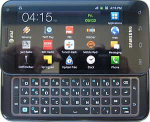 Samsung Captivate Glide - Samsung Galaxy S Glide or Samsung Captivate Glide with its keyboard extended and back lights on