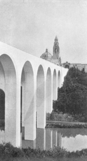 "Cabrillo Bridge - The bridge in 1916, looking east toward Balboa Park, with pond and the ""Camino Cabrillo"" road underneath."