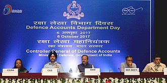Birender Singh Dhanoa - Air Chief Marshal B. S. Dhanoa with Minister of State for Defence Dr. Subhash Bhamre and Defence Secretary Sanjay Mitra, Controller General of Defence Accounts Veena Prasad and Financial Adviser (Defence Services) at the 271st Annual Day celebrations of Defence Accounts Department (DAD).