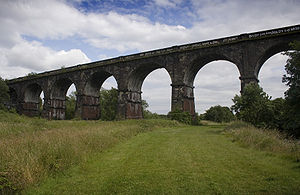 Liverpool and Manchester Railway - Stephenson's viaduct crosses the Sankey Brook, and the remains of the Sankey Canal. The viaduct is in use to this day.