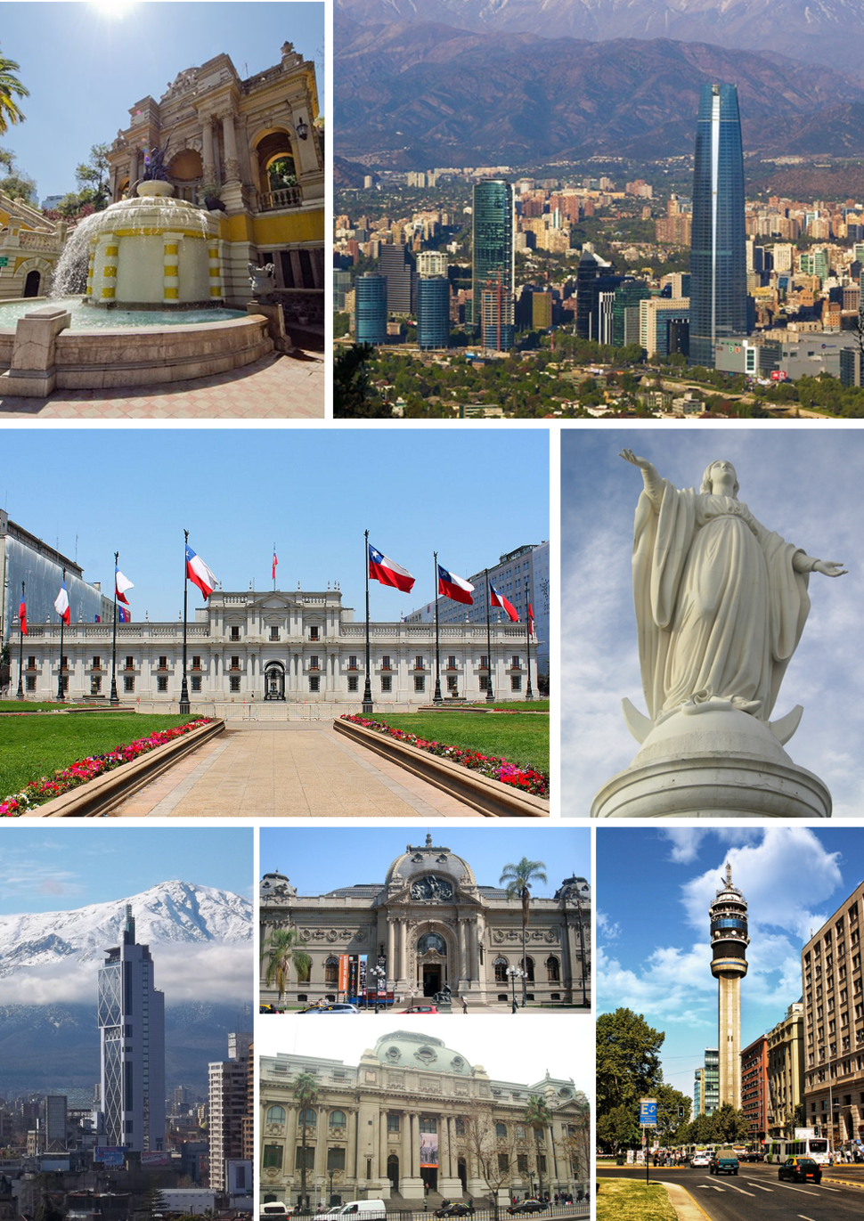 Collage of Santiago, left to right, top to bottom: Santa Lucía Hill, panoramic view of Santiago, La Moneda, Statue of the Immaculate Conception, Torre Telefónica, National Museum of Fine Arts and National Library of Chile, Torre Entel, Estación Central Santiago Metro station and Railway Station and San Francisco Church.