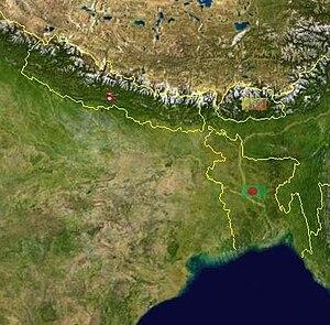 Geography of Bihar - Image: Satellite Map of Bihar