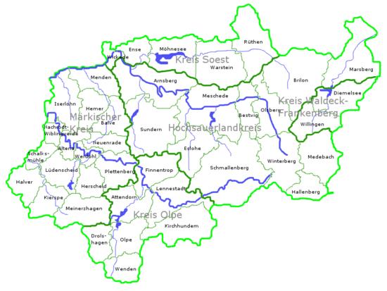 Sauerland Wikipedia - Germany map nrw