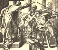 Engraving showing the King throwing his javelin at David