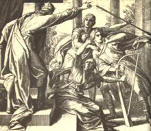 Gravurante montrantan la reĝon ĵetante lian ĵetlancon al Davido