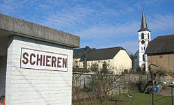 Schieren train station and church