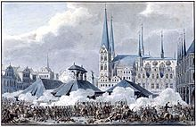 Print of the Battle of Lübeck, showing the fighting in the Market square with St. Mary's Church in the background