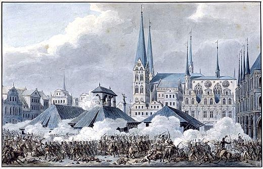 Battle of Lubeck, showing fighting in the Market square with St. Mary's Church in the background Schlacht um Lubeck 1806 - Markt.jpg