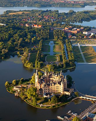 Revivalism (architecture) - Schwerin Palace, historical ducal seat of Mecklenburg, Germany – an example of pompous renaissance revival for representation purposes (built in 1857)