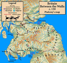 Peoples of northern Britain according to Ptolemy's 2nd-century Geography