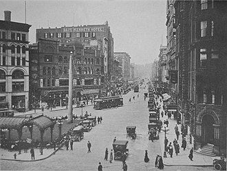 Pioneer Building (Seattle) - Image: Seattle First Avenue looking north from James Street 1916