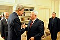 Secretary Kerry and Palestinian Authority President Abbas Shake Hands Before Meeting in Paris (12641101294).jpg