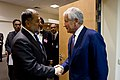 Secretary of Defense Chuck Hagel greets Afghan Minister of Defense Bismillah Khan Mohammadi.jpg