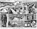 Sel. Salt production etc. Book illustration (encyclopedia plate line art) Larousse du XXème siècle 1932.jpg