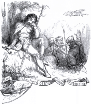 The Shepherd of the Giant Mountains - Gotschalk deep in thought with his staff and pipe, while the griffin flies in the distance and his fellow shepherds watch in horror (Illustration by Selous)