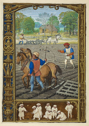 Golf book - Image: September Ploughing, sowing and harrowing; and playing with marbles and stilts The Golf Book (1520 1530), f.26v BL Add MS 24098
