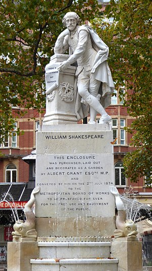 Leicester Square - The Shakespeare fountain and statue.