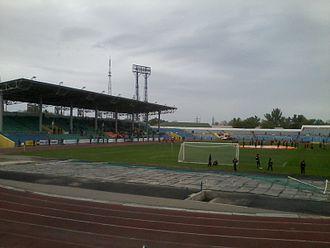 Shakhter Stadium (Karagandy) - Image: Shakhtyor Stadium (Karagandy) 2013 05 22 18.11.25