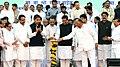 Sharad Pawar lighting the lamp to inaugurate the Food Security Scheme, at Airoli, Navi Mumbai, Maharashtra on January 31, 2014. The Chief Minister of Maharashtra, Shri Prithviraj Chavan and other dignitaries are also seen.jpg