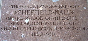Sheffield Scientific School - Plaque commemorating Sheffield Hall