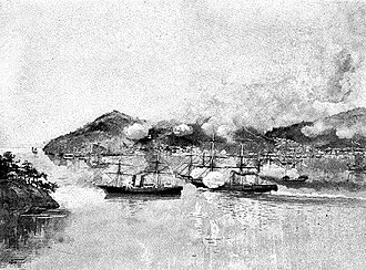 Shimonoseki Campaign - The USS ''Wyoming'' battling in the Shimonoseki Straits against the Choshu steam warships Daniel Webster, Lanrick and Lancefield