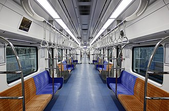 Shinbundang Line - The interior of the 2011 introduced subway car built by Hyundai Rotem.
