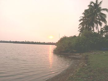 Side view of a small lake at sunset - payyannur.jpg