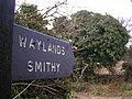 Sign at the entrance to Wayland Smithy - geograph.org.uk - 1143640.jpg