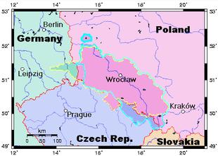 Das alte Schlesien mit den heutigen Staatsgrenzen.