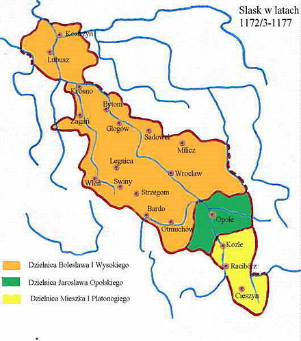 Silesia in an early period of Poland's fragmentation, 1172-1177 Silesia 1172-1177.jpg