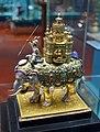 Silver elephant, Germany, 1650-1700, silver (partially gilt), enamel, pearls, precious stones, wood - Germanisches Nationalmuseum - Nuremberg, Germany - DSC03141.jpg