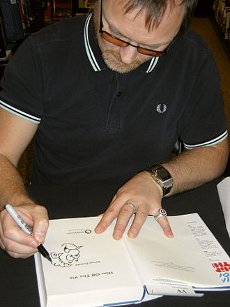 Viz (comics) - Simon Donald drawing Sid the Sexist in a copy of his book, Him off the Viz, November 2010