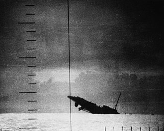 Gato-class submarine - Periscope photo of Japanese ''Patrol Boat No. 39''  sinking after being torpedoed by USS Seawolf.