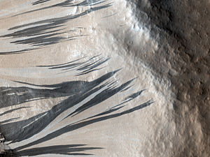 Dark slope streak - Slope Streaks in Acheron Fossae in 2010