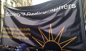 Society of Radiographers - An example of a SoR banner in a trade union demonstration (2011)