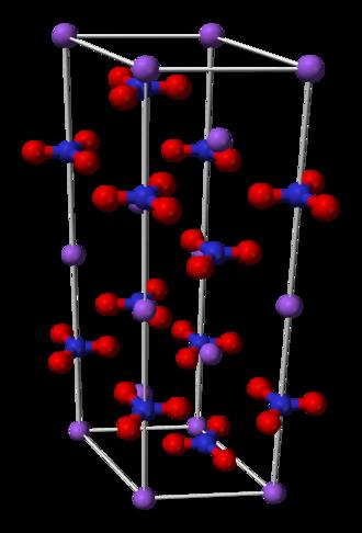 Sodium nitrate - Image: Sodium nitrate unit cell 3D balls
