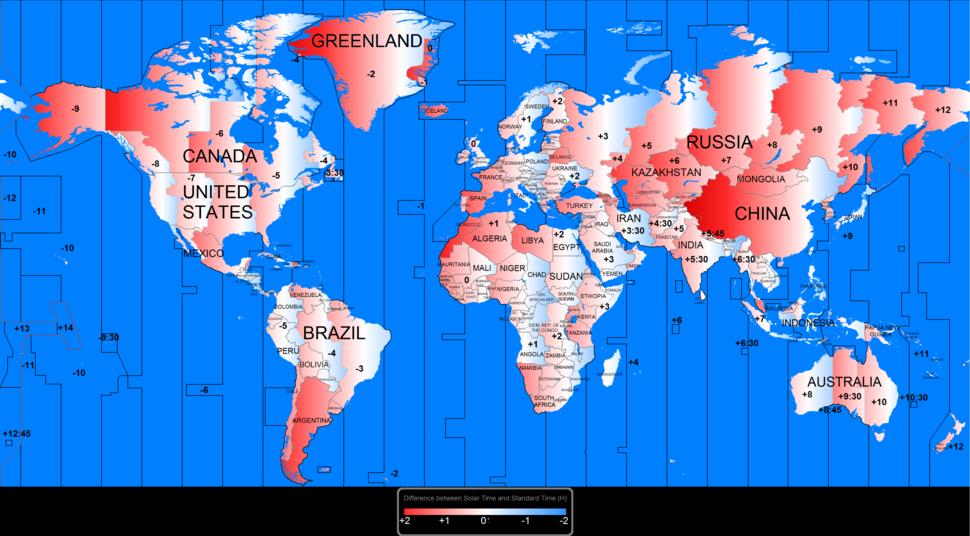 Solar time vs standard time