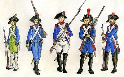 Soldater i franska uniformer, beväpnade med musköter - 1700 tal