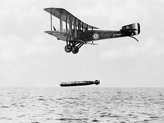 Torpedo bomber - A Sopwith Cuckoo dropping an aerial torpedo during World War I