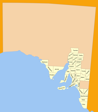 Lands administrative divisions of South Australia - The 37 counties of South Australia in 1886; 12 more were later proclaimed
