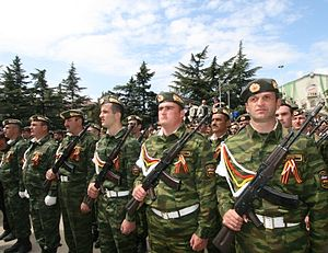 Military of South Ossetia - Members of the South Ossetian armed forces during a parade in Tskhinvali in May, 2009