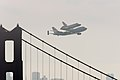 Space Shuttle Endeavour and carrier plane flying over Golden Gate Bridge.jpg