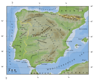 Outline of Spain - An enlargeable topographic map of Spain