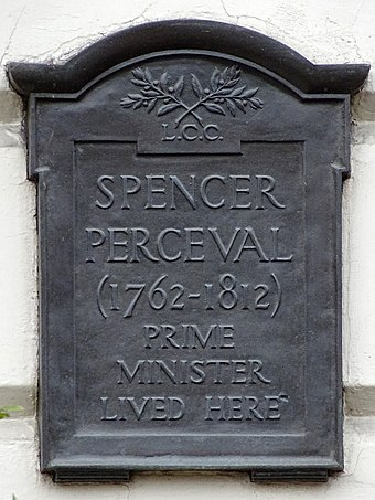 Memorial plaque to Spencer Perceval, in Lincoln's Inn Fields Spencer Perceval (1762-1812) Prime Minister lived here.jpg