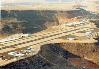 Inverted relief - Inverted relief at former St. George Municipal Airport, Utah. The lava plateau upon which the airport was built once filled the bottom of a valley.