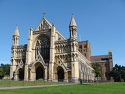 A view of the St Albans Abbey.