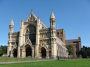 View of the west end of St Albans Abbey Church