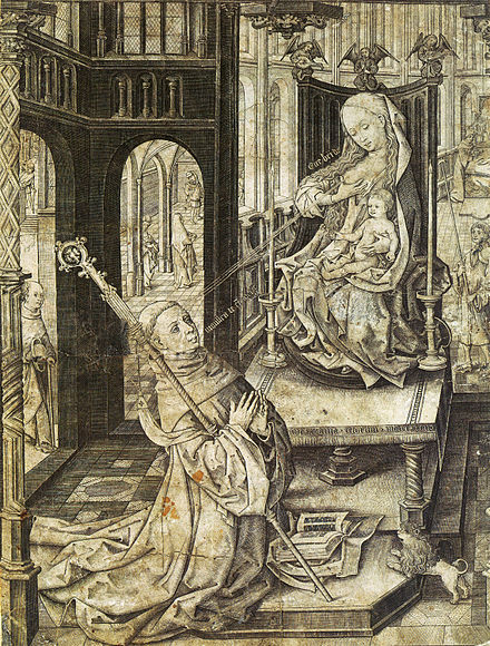 An engraving of The Lactation of Saint Bernard. The Virgin Mary is shooting milk into the eye of Saint Bernard of Clairvaux from her right breast which allegedly miraculously cured an eye affliction. StBernardFS.jpg