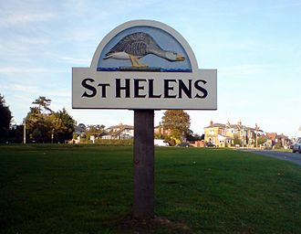 St Helens, Isle of Wight - Sign one sees on entering the village from the south