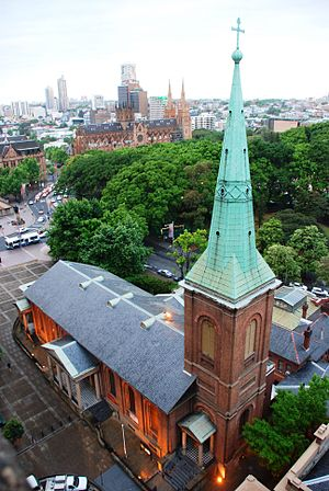 St James' Church, Sydney - With Hyde Park and St Mary's Cathedral in the background